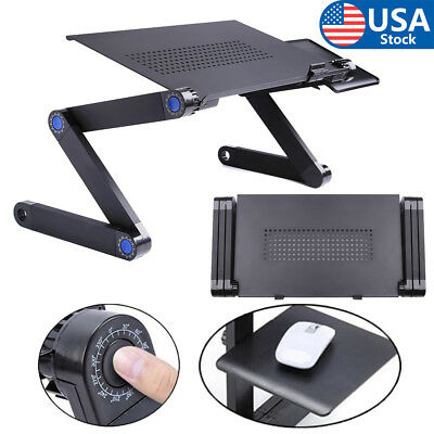 Black 360°Adjustable Folding Laptop Table Notebook Desk Bed Computer Tray Stand
