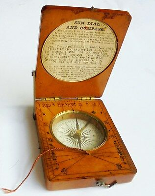 Antique Georgian or Early Victorian Wooden Sun Dial and Maritime Compass.