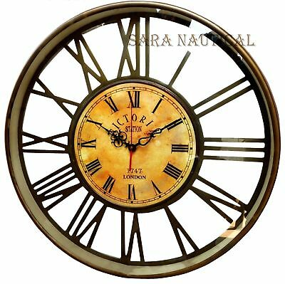 20'' Nautical Brass Anique Clock Victoria Station Clock 1747 London Collectibles
