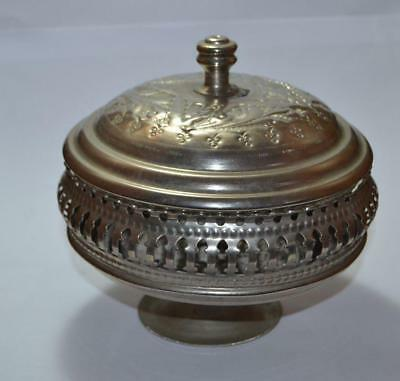 antique Islamic unique rare arabic Silver Plated hand made beautiful lidded bowl