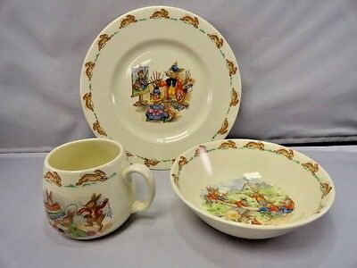 Royal Doulton Bunnykins Antique Plate Bowl Cup Youth Child Feeding Tableware