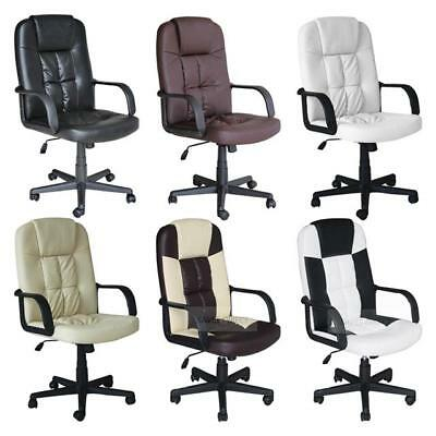 Executive Office Computer Desks Chair Pu Leather Seats High Back Adjustable Uk