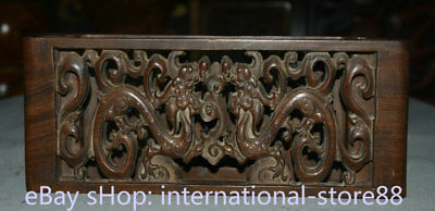 """10.6"""" Old Chinese Huanghuali Wood Carving Palace Double Dragon 2 Little Table"""