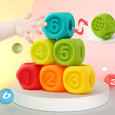 Baby Toys Gnaw Soft Rubber Building Blocks Baby Early Educational Safe Toys N7