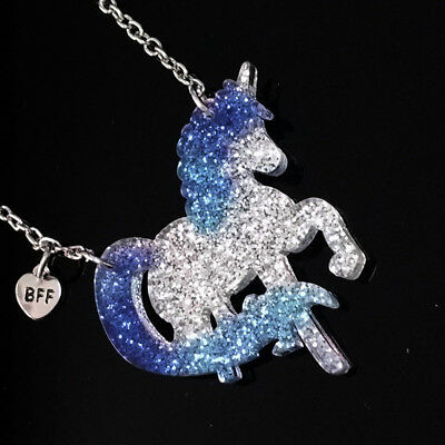 Children Acrylic Plate Bright Pink Unicorn Necklace Gifts Creative Jewelry N7