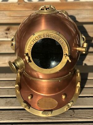 "Reproduction 18"" Anchor Engineering Diving Helmet Mark V Deep Sea Divers Copper"