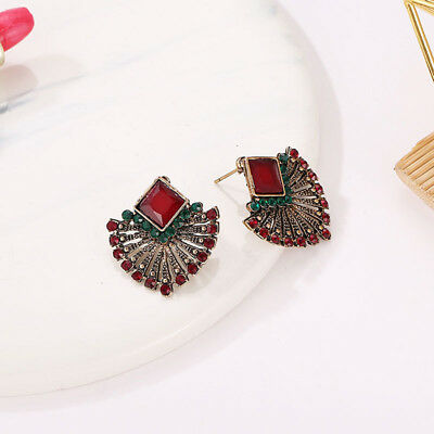 Vintage Crystal Bohemian Ethnic Style Stud Red Square Color Earrings LH