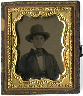 c. 1860 Ambrotype Young Man in Large Western Hat