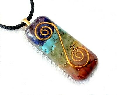 ORGONE Pendant Necklace Spiral & Seven Chakra healing crystals Made in USA