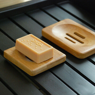 Durable Natural Bamboo Wood Bathroom Shower Soap Tray Dish Storage Holder Plate