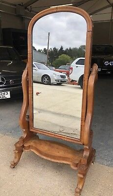 Beautiful Victorian Mahogany Cheval Mirror, Full Length Antique Mirror