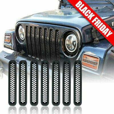 Honeycomb Mesh Front Grill Inserts for 1997-2006 Jeep Wrangler TJ Unlimited 7PCS