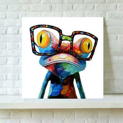 Frog Animal Canvas Painted Abstract Wall Art Oil Painting Picture Decor Square