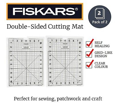 2 x Self Healing Double Sided Cutting Mat for Sewing or Craft 22cm x 30cm CLEAR