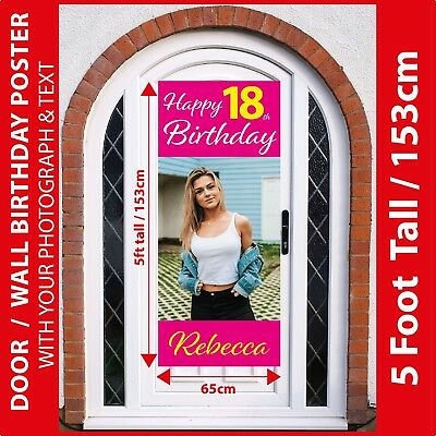5FT Tall : Personalised 18th Birthday Poster Banner +Your Photo & Text - BIG 5FT
