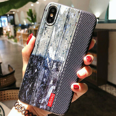 Ultra Slim Retro Wood Pattern Soft TPU Case Rubber Case Cover for iPhone XS Max