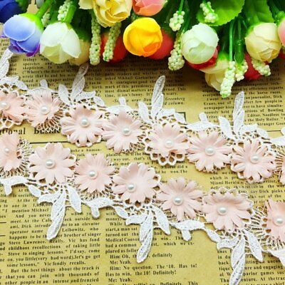 BF63 2PCS  Appliques Fabric Flower Embroidered Lace Trim Neckline Sewing Crafts
