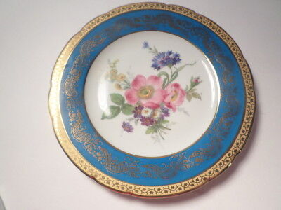 Imperial Limoges Floral Decorative Plate Royal Blue Real Gold