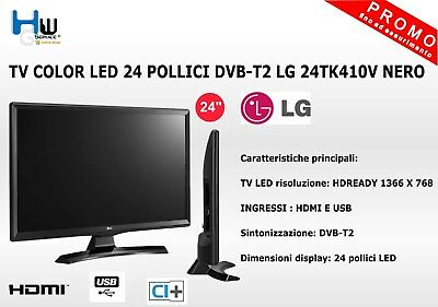 Tv Color Led 24 Pollici Dvb-T2 Lg 24Tk410V Nero