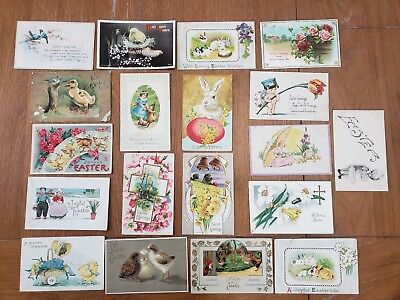 Nice Lot of 19 Vintage 1910 Easter Holiday Postcards Antique Bunny Chicks Eggs