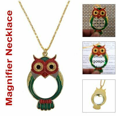 Pocket Magnifying Glass Reading/Jewelry Magnifier Loupe OWL Pendant Necklace 10X