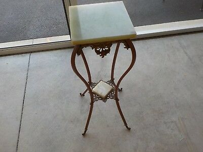 Vintage Victorian Style Brass Fern Stand Table with Marble Table Top (MH)