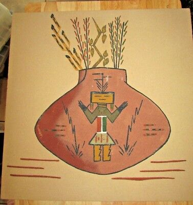 Beautiful Large Vintage 1970'S Sandpainting Artist Signed Redrock Texas