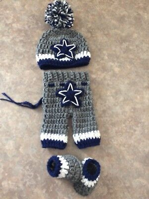 Crochet Newborn 3 Month Dallas Cowboys Hat Pants Booties Outfit