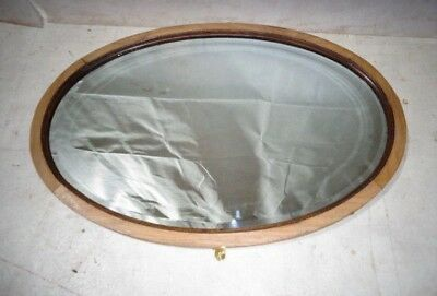 ANTIQUE ARTS & CRAFTS SOLID OAK OVAL HALL MIRROR OVERMANTLE MIRROR c1900-20