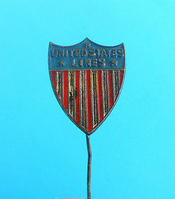 UNITED STATES LINES - original vintage tin badge issued 1920-1930's