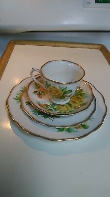 Royal Albert Bone China England Tea Yellow Rose Gold Rim Tea Cup Saucer 2 Plates