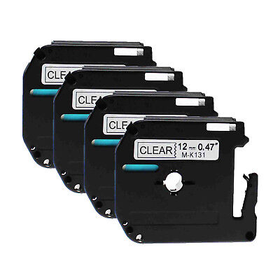 4PK For Brother P-touch PT-65 PT-70 12mm Label Tape M-K131 MK131 Black on Clear