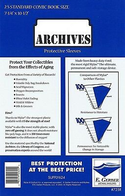 25 Mylar Archives 4 mil STANDARD HEAVY DUTY Comic Book Bag Sleeves E.Gerber 725R