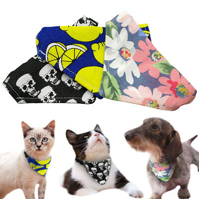 Bandana-Style Small Dog Collars Neckerchief Adjustable Neck Scarf for Pets Cat