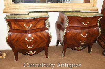 Pair French Empire Bombe Commodes Kingwood Chests of Drawer
