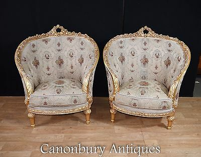 Pair French Louis XVI Tub Chairs Gilt Arm Chair
