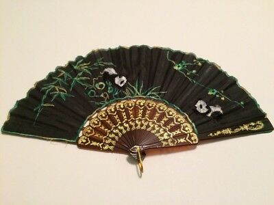 Ladies Hand Fan w/ Pandas and Bamboo Decoration Antique Vintage Fabric & Plastic