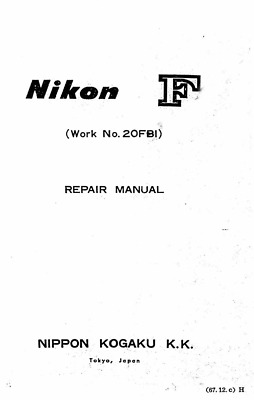 Nikon F Service Repair Manual  and Parts List