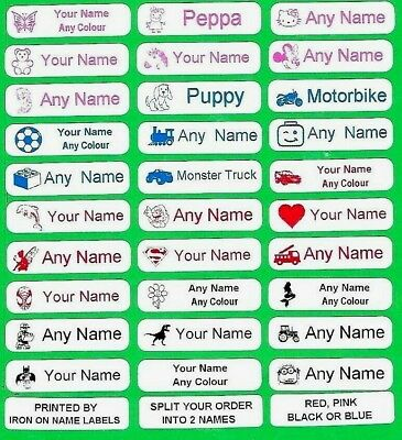 Printed Iron on Name labels school Uniform Nursery Clothes Name Tags Tapes