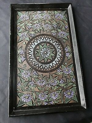 "Antique Wooden Black PAPIER MACHE TRAY etched & Hand Painted 15"" x9"""