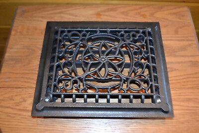 Cast Iron Grate With Louvres Heat Wall Vintage Antique