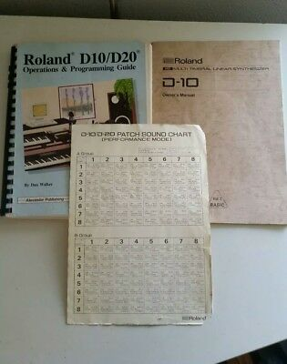 Roland D10/D20  Synthesizer Operations & Programming Guide, Sound Chart, Manual