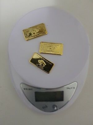 30 Gram 100 mills .999 Fine Gold plated Buffalo Bars 3 lot and gold recovery