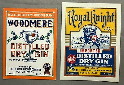 1930s DRY GIN Woodmere ROYAL KNIGHT Bottle Label AMERICAN LIQUOR Co BOSTON Mass