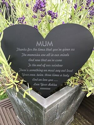Personalised Memorial Heart Grave Heart Mum/Dad/Nana/Grandad/Any Name