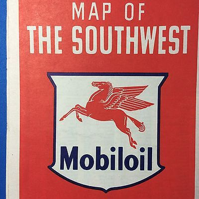 1950s MOBILGAS Oil & Gas Flying Red Horse Southwest Road Map Original Vintage