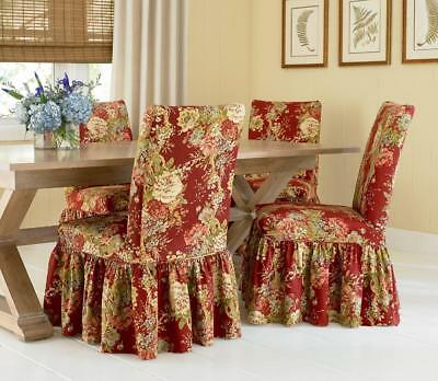 Fine Waverly Ballard Bouquet Dining Chair Covers Set Of 2 Crimson Gmtry Best Dining Table And Chair Ideas Images Gmtryco