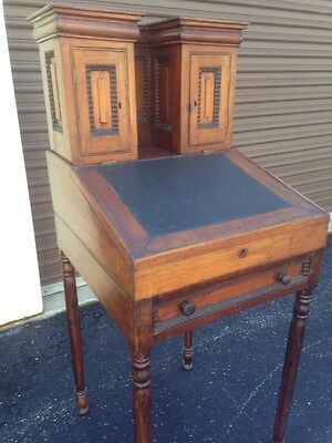 Antique Writing Desk 19th Century American Walnut/Leather
