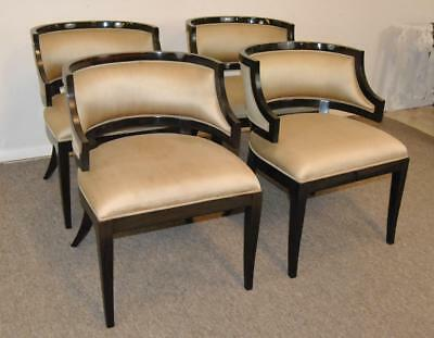 Four Maitland Smith Barrel Back Dining Chairs Mocha Stained Frames