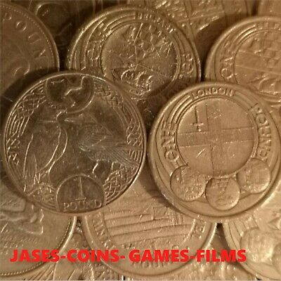 Various Old Round One Pound Coins From Great British  £1 Coin Hunt. 1 Pound Coin